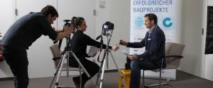 Dreh für die Initiative Digital Building Solutions: ein eigens produziertes Video ruft Start-Ups aus ganz Europa dazu auf, sich zu bewerben.